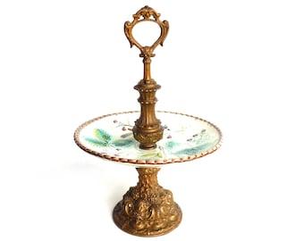 Antique Serving Stand, Etagere, Majolica, Bon Bon stand, serving tray dish, Ceramic serving tray with handle. #6A8G7D0K2D