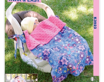 Sewing Pattern for Infants' Carrier Cover and Baby Carrier Blanket with Ties, Kwik Sew # 3923, EASY Sew, Infant Car Seat Cover & Blanket
