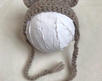 Crocheted premie hat, Premie teddy bear hat, Photo prop hat, Teddy bear hat, Premie hat, Brown hat, Bear hat, 2-3 lb premie hat