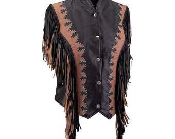 Ladies Brn/Blk Leather Fringe Vest
