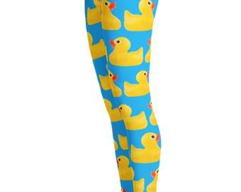 Rubber Duck Leggings - Rubber Ducks - Patterned Leggings - Womens Leggings - Duck Leggings - Duck costume - Christmas Gift