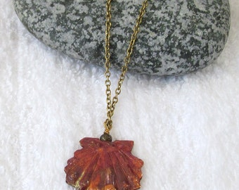 Copper Scallop Shell Pendant Necklace - Small Copper Shell Jewelry - Red & Gold Copper Shell Jewelry - Nature Inspired Pendant Jewelry