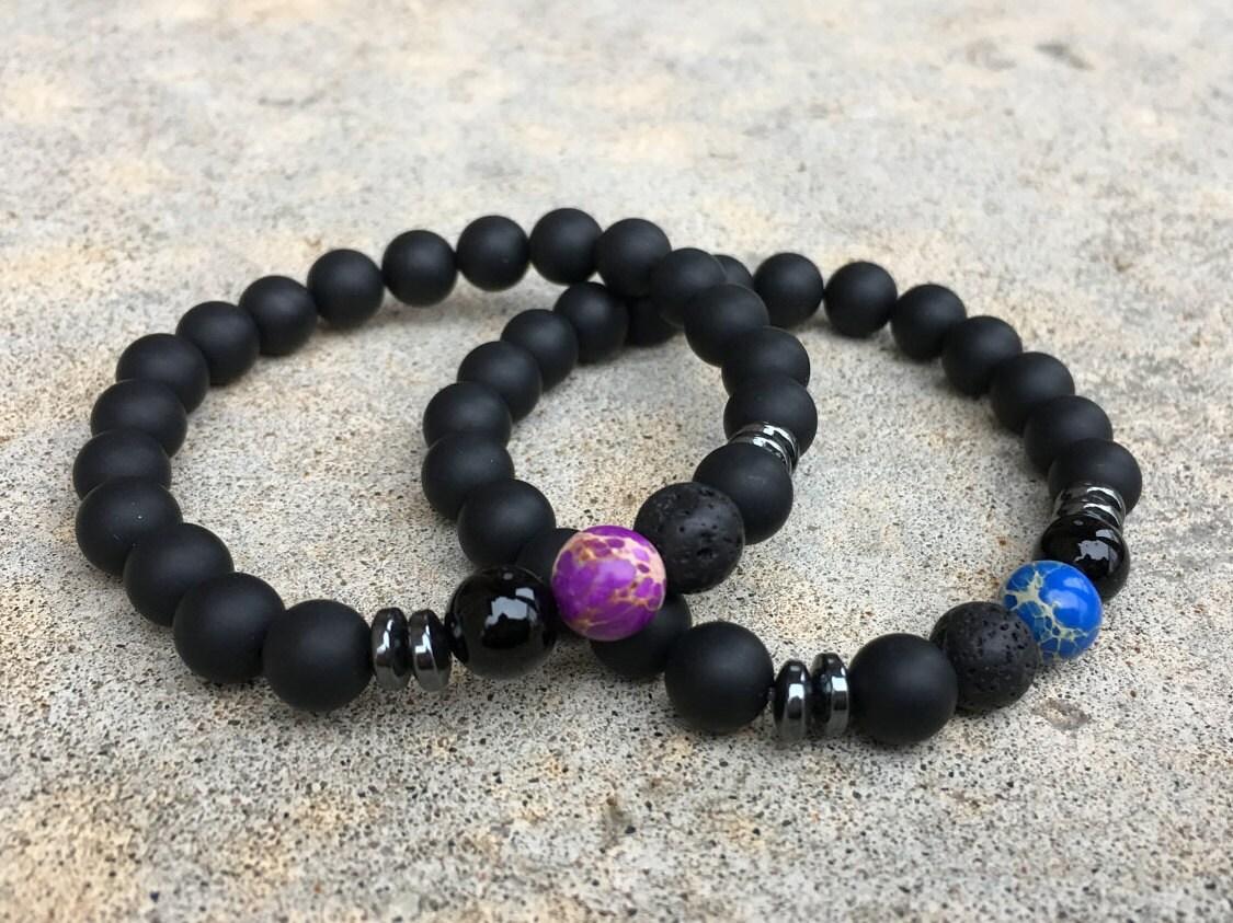 2 Pc Set Distance Bracelets Blue And Purple Matching Pair