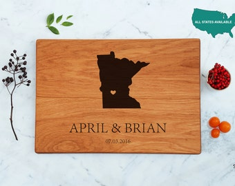 Minnesota Cutting Board Gift For The Couple State Love Custom Engraved Husband Present For Men Best Gift For Teacher Personalized US States