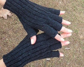 Womens gloves half finger gloves alpaca gloves knit gloves wool gloves fingerless gloves Xmas gift Mother gift granny gift crochet gloves