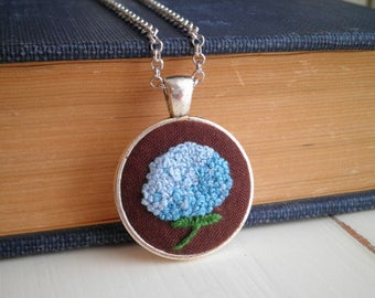 Embroidered Necklace - Blue Hydrangea Floral Embroidery Fiber Art Nature Necklace, Retro Bohemian Garden Flower Pendant Jewelry Gift For Her