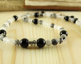 Capricorn necklace for capricorn jewelry rutilated quartz neckalce black obsidian necklace zodiac necklace handmade necklace astrology stone