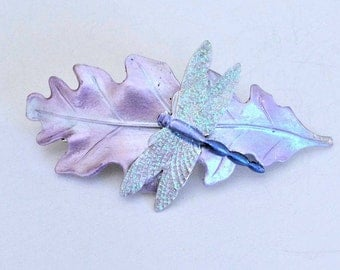 Oak leaf Hair barrette, Dragonfly hair clip, dragonfly hair pick, dragonfly hair pin, French barrette