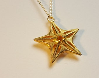 PETRA Star Pendant - Gold Steel