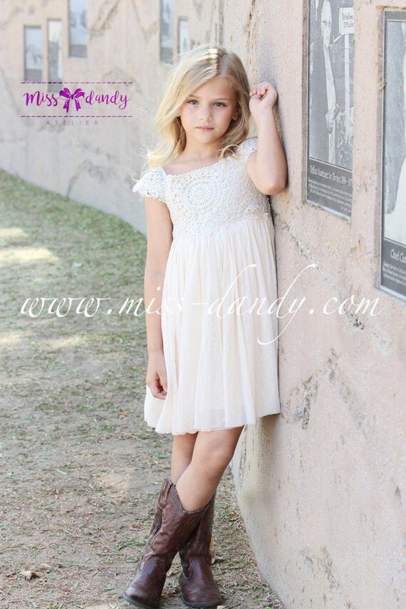 Ivory Cream flower girl dress Crochet Lace baby dress Rustic