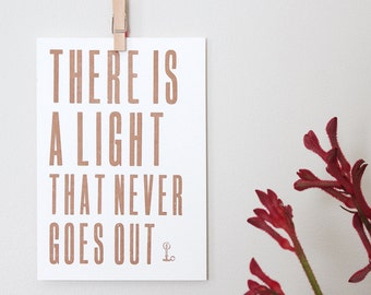 Letterpress Postcard Mini-Print –There Is A Light That Never Goes Out – Song Lyrics Wall Art, The Smiths Lyrics, Letterpress