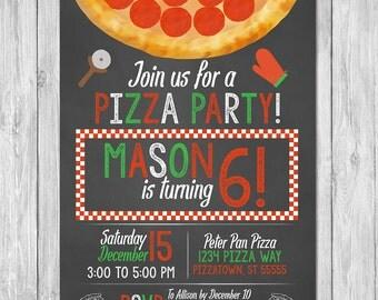 Pizza Party Invitation Birthday | Chalkboard | Pizza Birthday Party Invite | Pizza Birthday | Printable Invite | Pizza Chalkboard Invite