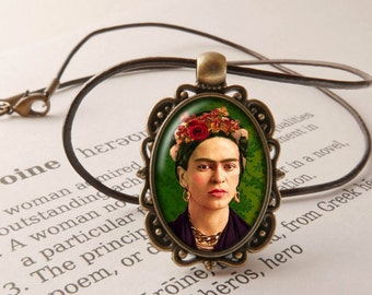 Frida Pendant Necklace -Frida Jewelry, Gift for Girl friend, Feminist Icon Necklace, Frida Necklace, Mexican Artist Pendant, Frida Jewellery