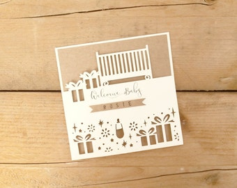 Personalised Papercut New Baby Card / New Baby Card / Baby Shower Card / Congratulations Baby Girl Card / Baby Boy Card
