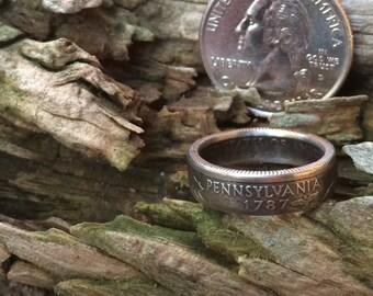 Silver Pennsylvania quarter coin ring