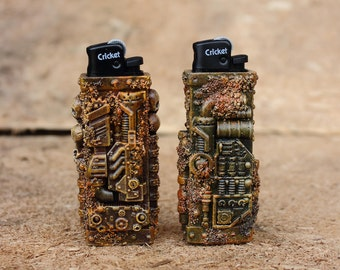 Apocalyptic removable cases for Cricket lighter. Mad Max style, industrial, techno, dieselpunk. Rust, dirt and skulls.
