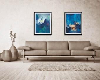 Abstract Print Set of two, Large Print Art, Abstract, Giclee Print, Blue Abstract, Large Abstract Print, home decor, wall print, ZDQ41122