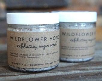 Wildflower Honey Sugar Scrub - Stocking Stuffer - Exfoliating Sugar Scrub - Strawberry Seeds - Exfoliating Scrub - Honey Scrub