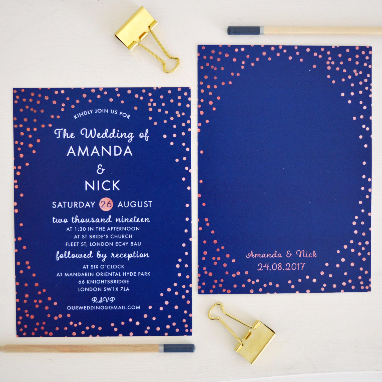 Rose Gold Wedding Invitation Navy Pink Wedding Invite Navy