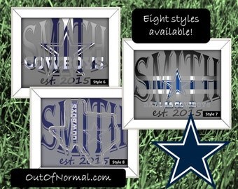 Dallas Cowboys - America's team Custom Last Name Photo Wedding Gift, Anniversary, Man Cave, Wife, Personalized for you, multiple styles