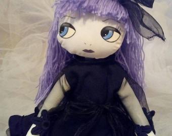 Gothic ragdoll/hand made doll/soft doll/textile doll/pretty doll
