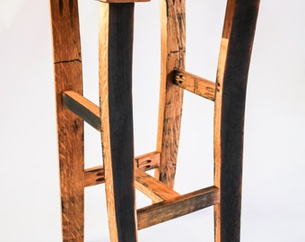 Oak, Scotch Whisky barrel stave bar/kitchen stool