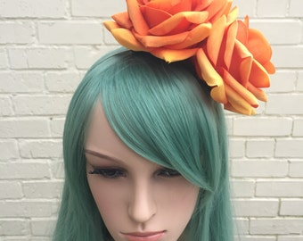 Orange Rose Fascinator, Orange Hair Flowers, Large Rose Headband, Wedding Fascinator, Tangerine, Pumpkin, Races Hair Accessory, Pin Up