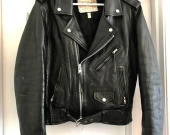 Vintage Black Leather Motorcycle Jacket FIRST MFG CO 1980s