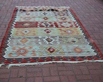 "Pastel Woven Kilim Rug, 68"" x 120"" / 170 x 300 cm, Turkish Kilim Rug"