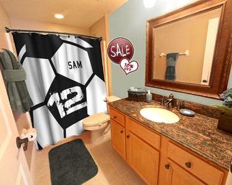 Soccer Ball Shower Curtain, Black, Soccer Shower Curtains, Custom Soccer  Curtain, Soccer