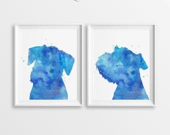 Set Schnauzers Print, Set of 2 Prints, Watercolor Schnauzer, Schnauzers Art, Large Wall Décor, Blue Schnauzers, Set of Schnauzers, Boy Gift