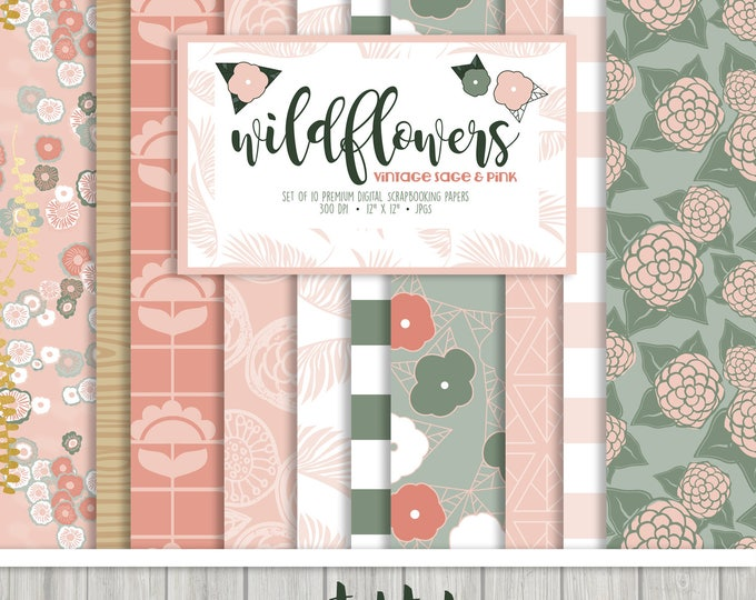 Featured listing image: Wildflowers Vintage Sage and Pink - Digital Scrapbooking Paper Collection { Set of 10 }  Digital Papers