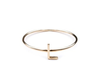 14k INITIAL RING - initial ring / gift for her / letter ring / initial ring gold / name ring / rose gold intial / solid 14k intial ring