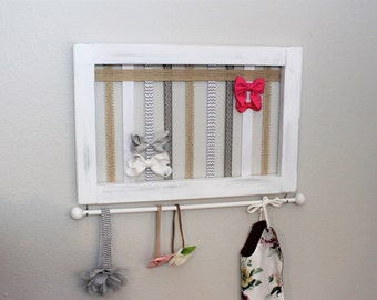Baby Bow Holder Girls Bow Holder Headband Holder Headband Organizer Girls Nursery Organizer Girls Baby shower gift White bow holder