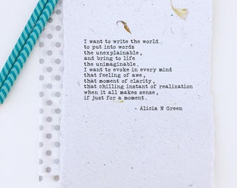Poem for writers | Inspirational gift for writers | Writers block | Motivational writers quote | Write the World poem by Alicia N Green