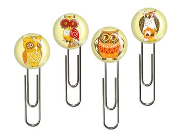 4 Planner Clips- Paper Clips For Planners-Glam Planners-Book Marks-Flair-Buttons-Orange-Owl-Office-School Supply-Gift-Prize-Ladydeeplanners
