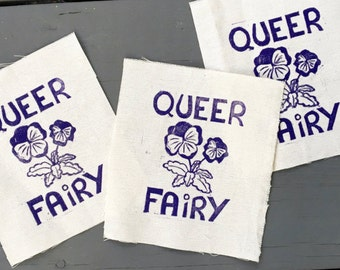 Queer Fairy patch, Pansy patch, Queer patch, Femme patch, Back patch, LGBT patch, Purple patch, Linocut print, Block print, Queer pride