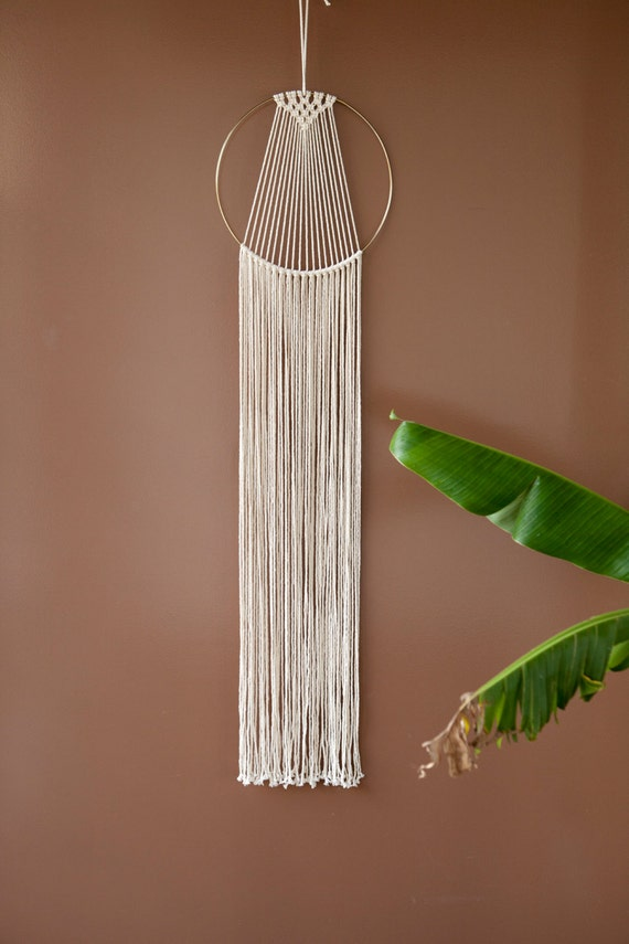 macrame hoops large macrame hoop wall hanging white gold metal 5028