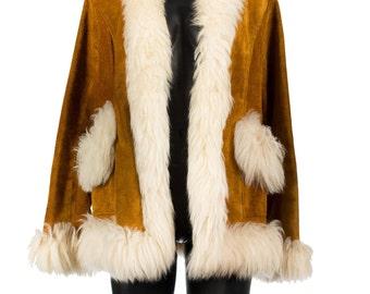 Vintage 1960's Tan Suede and Fur Coat