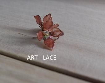 Rose gold Stud earrings for women gift for women Flower with long stem Copper earring Rustic Vintage Hawaiian Gift for her Flower girl