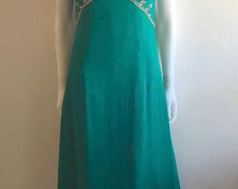 1960s Dress / Emerald Green / Embellished / M
