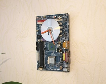 Wall clock - Recycled Computer motherboard clock - Geeky Wall clock - blue clock - Unique Gift