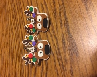 Reindeer clip on earrings