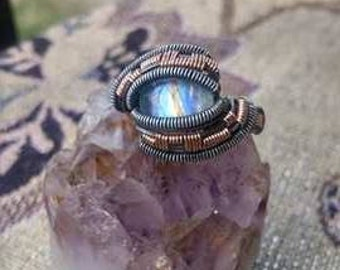 Rainbow moonstone wire wrap ring