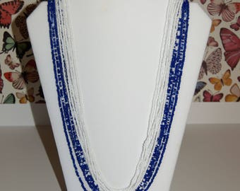 Blue & White Graduated Length Multi-Strand Seed Bead Necklace