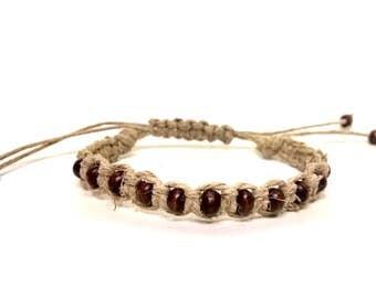Brown Wooden Adjustable Hemp Bracelet