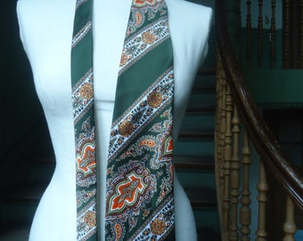 60's tie true vintage retro tie width tie dark green Paisley boho striped gift for him