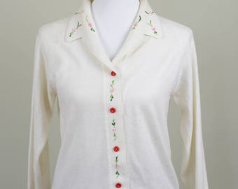 Italian Ivory White Embroidered Floral Sweater // Vintage 1980s // Size 6 Size 8 Size 10 // ** 60% off **