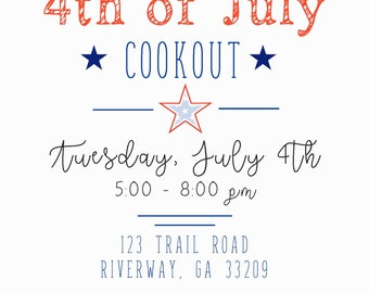 4th of July, Memorial Day Cookout Invitation (Digital Print File)