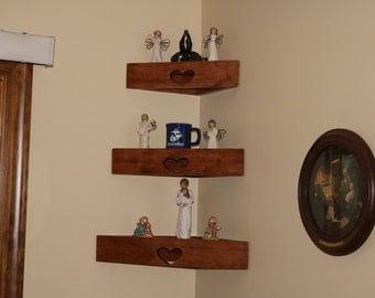 Set of three decorator wood corner wall shelves with heart